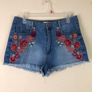 Forever 21 Shorts - Denim Jean Shorts Floral Patch 29 Mid Rise Forever